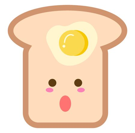 Egg toast, illustration, vector on white background.
