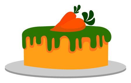 Carrot cake, illustration, vector on white background.