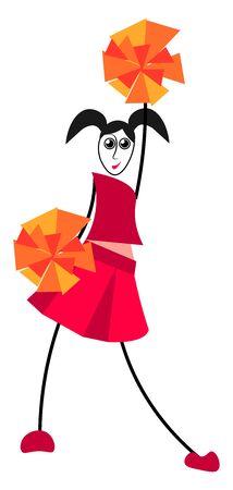 Cheerleader, illustration, vector on white background. Çizim
