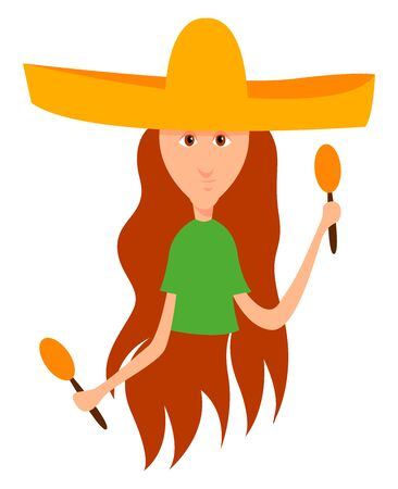 Girl with sombrero, illustration, vector on white background.