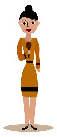 Journalist woman, illustration, vector on white background. 向量圖像
