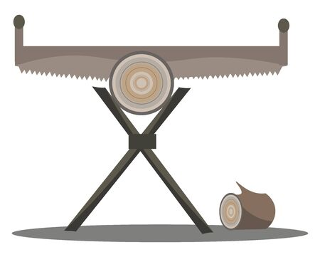Crosscut saw, illustration, vector on white background. Illustration