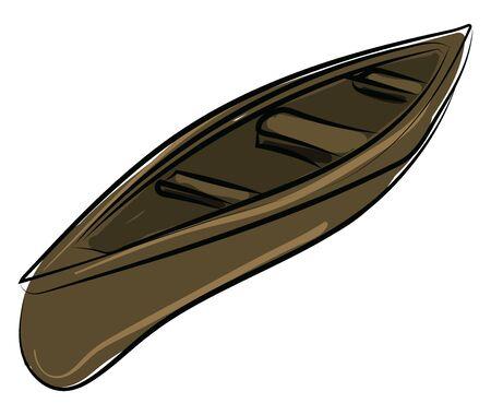 Wooden boat, illustration, vector on white background. 向量圖像
