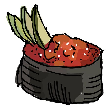 Smelt roe, illustration, vector on white background.