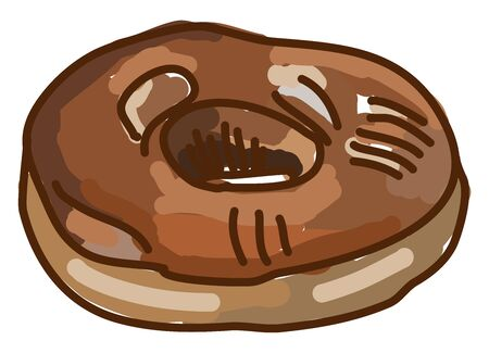Chocolate maple donut, illustration, vector on white background.