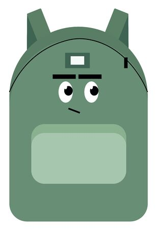 Backpack with eyes, illustration, vector on white background.