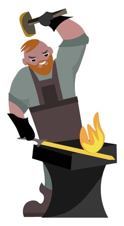 Blacksmith, illustration, vector on white background.