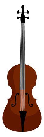 Cello instrument, illustration, vector on white background.