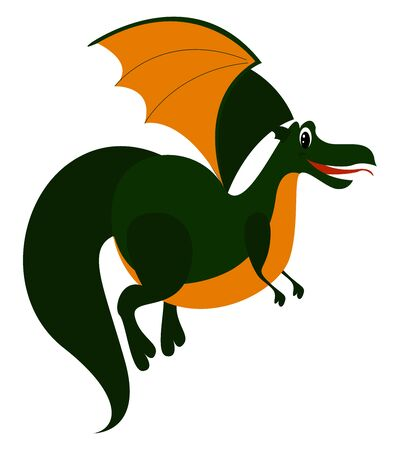 Green dragon, illustration, vector on white background. 일러스트