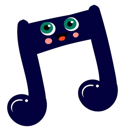 Music note, illustration, vector on white background. Stock Illustratie