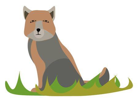 Sad fox, illustration, vector on white background.