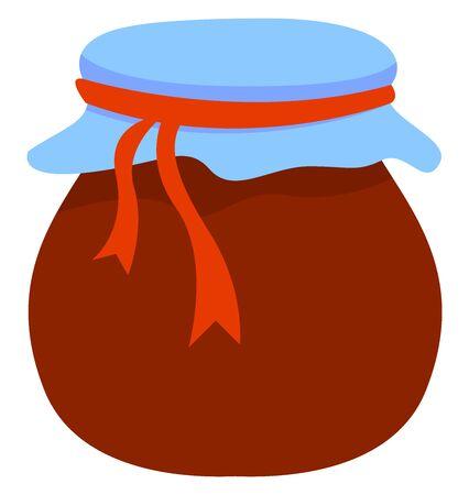Jam pot, illustration, vector on white background. Illustration