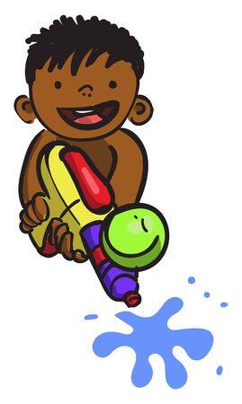 Boy with water gun, illustration, vector on white background. Illustration