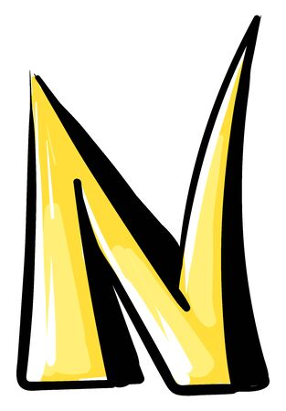 Letter N, illustration, vector on white background. Ilustração