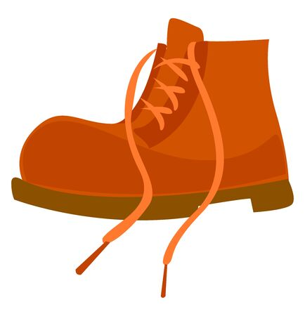 Orange boot, illustration, vector on white background.