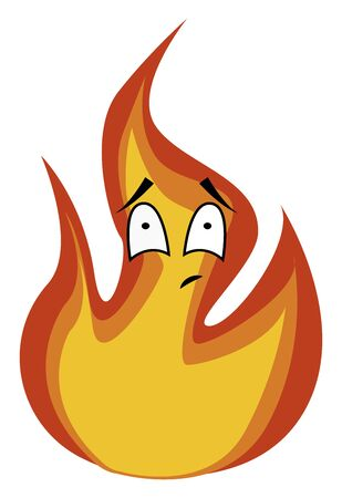 Sad fire, illustration, vector on white background.