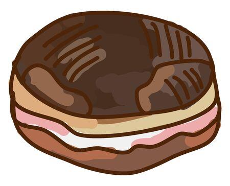 Chocolate donut, illustration, vector on white background. Ilustração