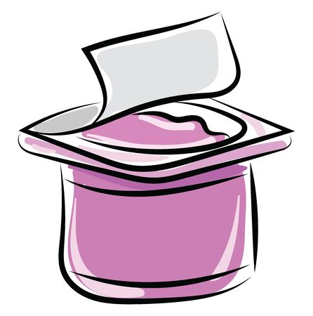 Pink yogurt, illustration, vector on white background.