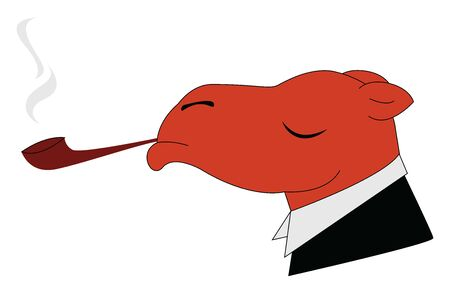 Smoking camel, illustration, vector on white background. Illusztráció