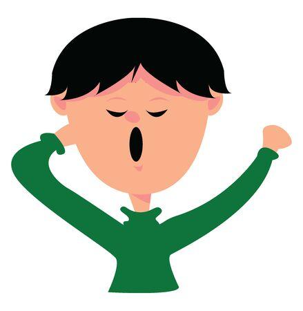Yawning boy, illustration, vector on white background. Vector Illustration