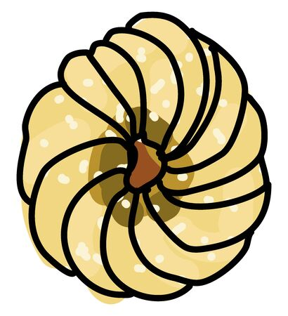 French cruller, illustration, vector on white background.