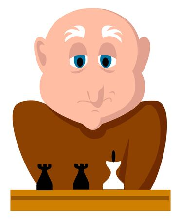 Man playing chess, illustration, vector on white background.