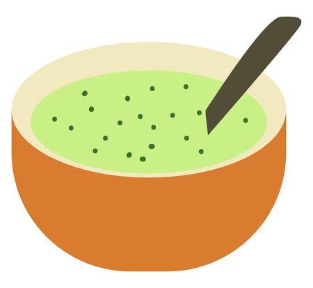 Green soup, illustration, vector on white background. Standard-Bild - 132940156