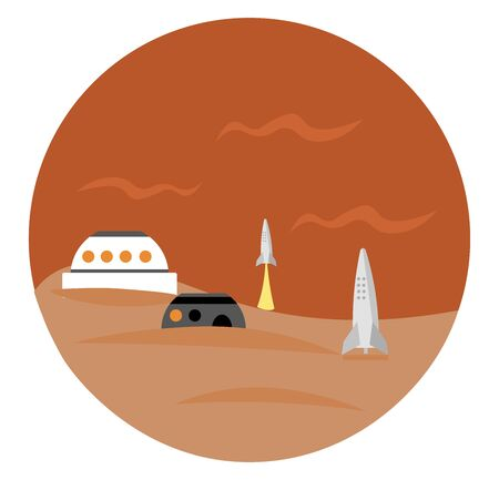 Mars base, illustration, vector on white background. Ilustração