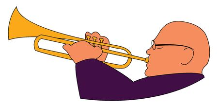 Trumpeter, illustration, vector on white background. Illustration