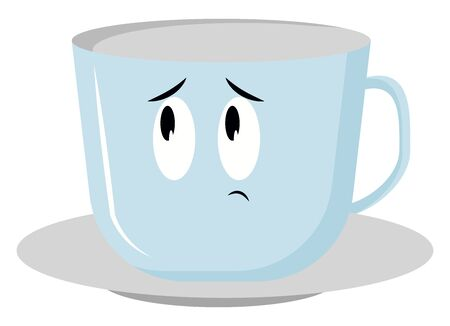 Sad cup, illustration, vector on white background.
