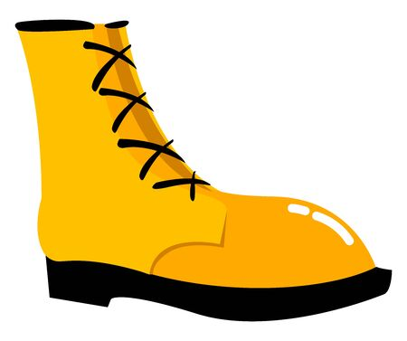 Yellow winter shoe, illustration, vector on white background. Иллюстрация