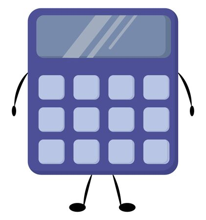 Purple calculator, illustration, vector on white background.