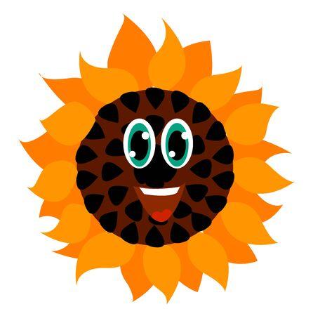 Happy sunflower, illustration, vector on white background.