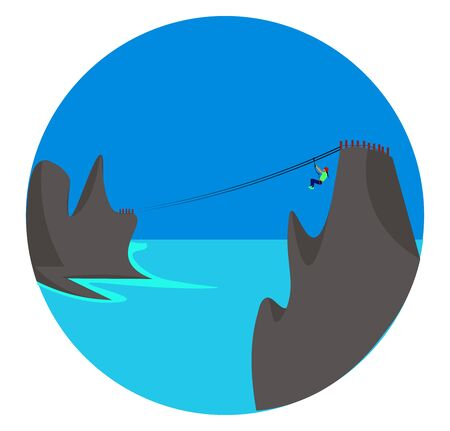Zip line, illustration, vector on white background. 向量圖像