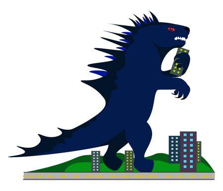 Godzilla, illustration, vector on white background.