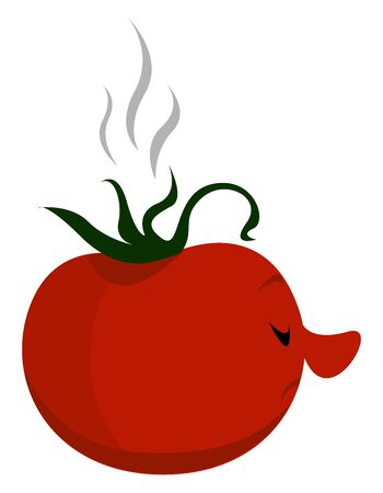 Rotten tomato, illustration, vector on white background. Illustration