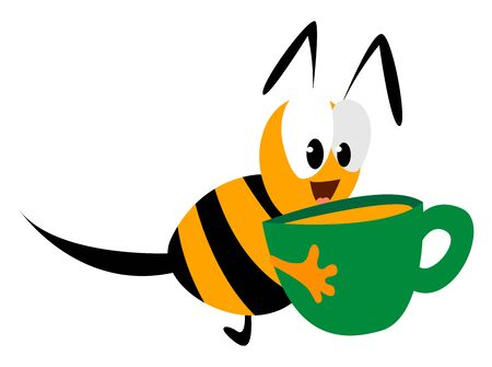 Cup with honey, illustration, vector on white background. 일러스트