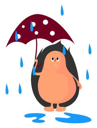 Hérisson avec parapluie, illustration, vecteur sur fond blanc. Vecteurs