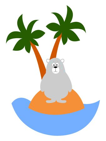 Bear on a island, illustration, vector on white background.