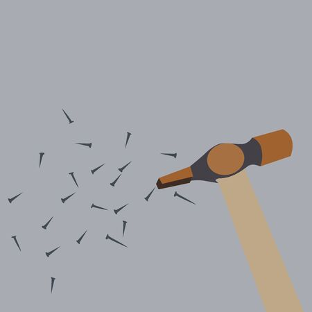 Hammer and nails, illustration, vector on white background.