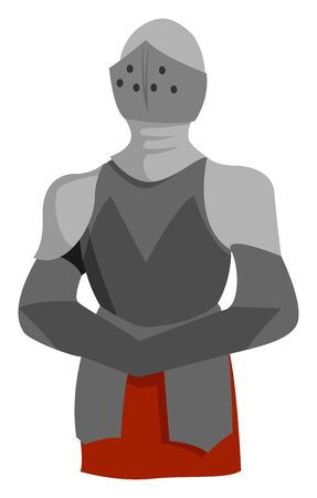 Knight armor, illustration, vector on white background.