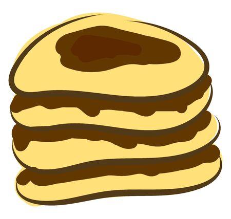 Chocolate pancake, illustration, vector on white background. Standard-Bild - 132944540