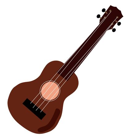Red guitar, illustration, vector on white background.