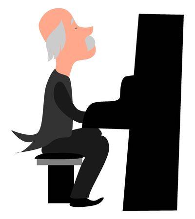 Old pianist, illustration, vector on white background.
