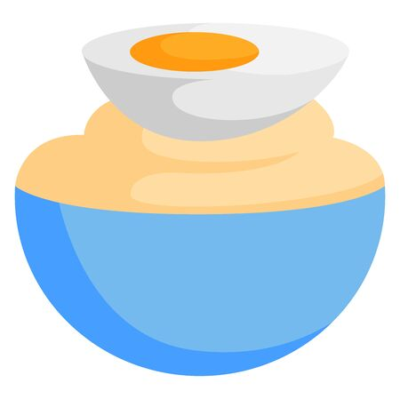 Mayonnaise in bowl, illustration, vector on white background.