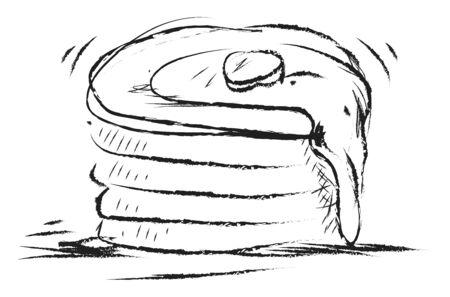 Pancake drawing, illustration, vector on white background. Standard-Bild - 132940921