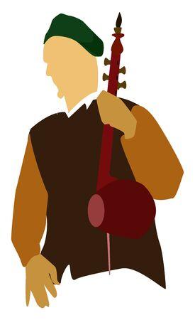 Old musician, illustration, vector on white background. Ilustração