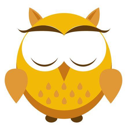 Yellow owl, illustration, vector on white background.
