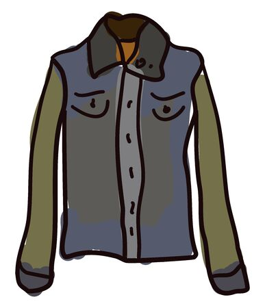 Jean jacket, illustration, vector on white background.