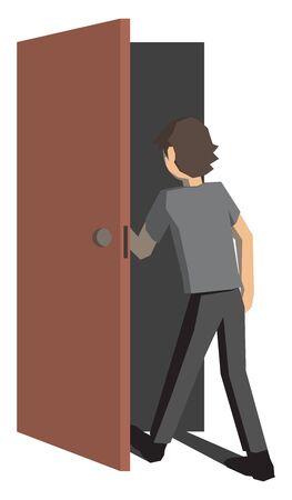 Man opening door, illustration, vector on white background.